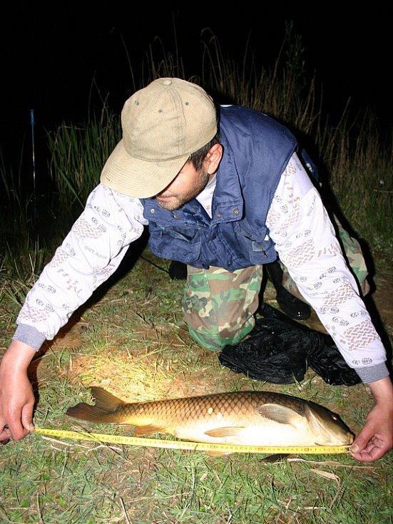Členov rybářské stráže při nočním zátahu na pytláky. Přeměřuje ulovenou rybu.