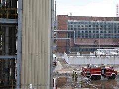 Exploze a požár potrubí s vodíkem v chemičce v Záluží.