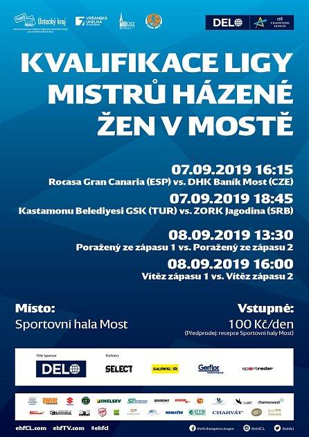 Plakát zvoucí vMostě na kvalifikaci oLigu mistrů.
