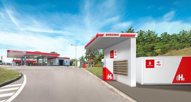 Vodíková plnící stanice.