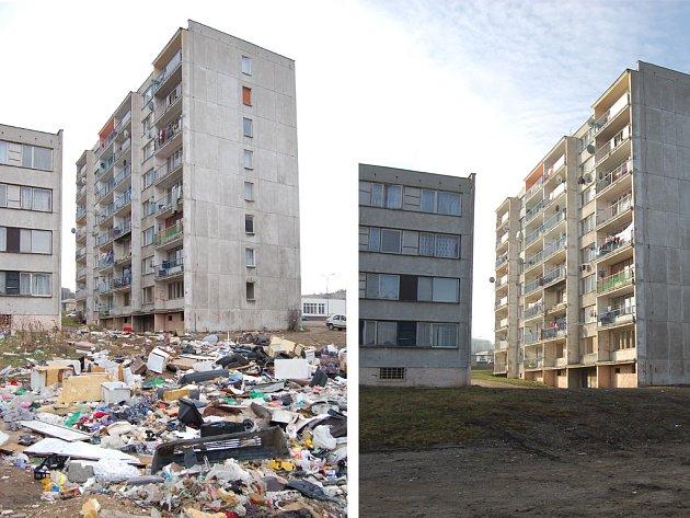 Sídliště Chanov před a po úklidu.