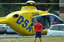 Vrtulník záchranné služby na Mostecku.