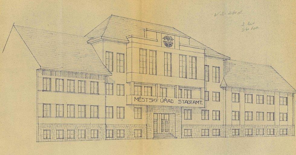 Plány radnice v Litvínově z 30. let 20. století.