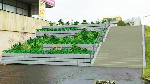 3D zobrazení budoucího schodiště u Prioru.
