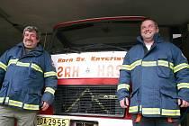 Dobrovolní hasiči z Hory Svaté Kateřiny.