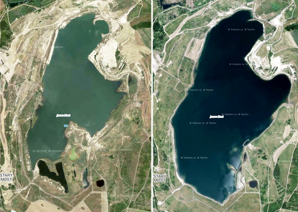 Jezero Most před a po.