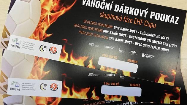 Vánoční poukázky na evropský pohár EHF, ve kterém se v novém roce představí Černí andělé.