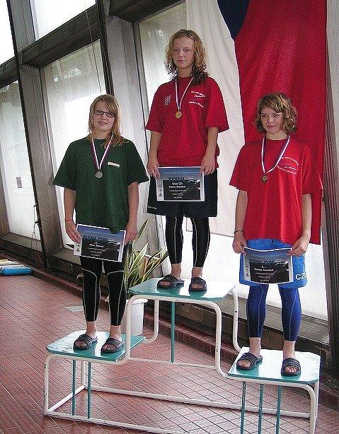 Na stupních vítězů stojí vlevo pětinásobná medailistka z MČR Petra Žižková.