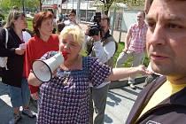 Demonstrace proti stravenkám v Litvínově.