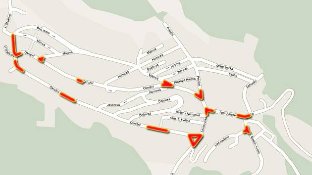 Mapa nebezpečných míst v Meziboří, tak jak je vidí školáci.