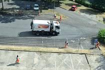 Blokové čištění ulic v Mostě