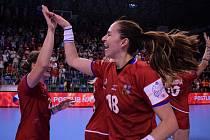 Zápas Česko - Slovinsko v mostecké sportovní hale.
