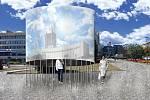 Vizualizace návrhů, které neuspěly v soutěži na Památník hornických tradic a důlních neštěstí v Mostě