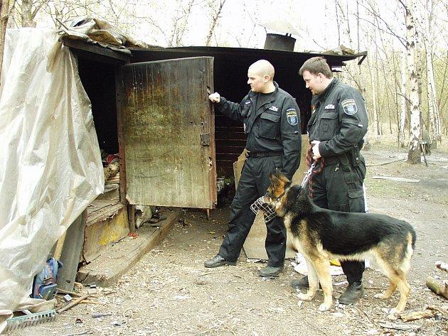 Strážníci při kontrole provizorních přístřešků bezdomovců poblíž mosteckých tenisových kurtů.