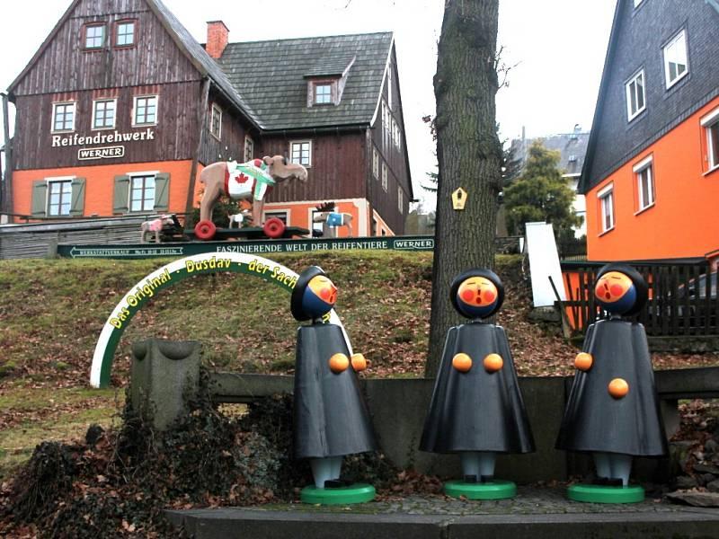 Centrum krušnohorského hračkářství, městečko Seiffen.