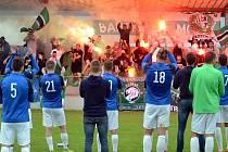 Zápas mezi FK Baník Most-Souš a Dobříší. Parádní kulisu opět vytvořili domácí fanoušci.
