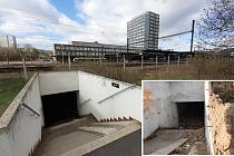 Vstup do podchodu u mosteckého nádraží dnes a v roce 2012 (malý snímek)