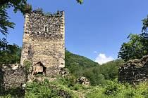 Zřícenina hradu Rýzmburk.