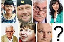 Kandidáti do Senátu, další ještě mohou následovat. Zleva A. Dernerová, J. Šlégr, J. Nétek, L. Hrdinová, J. Biolek, O. Zaremba, J. M. Sieber.