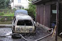 Zapálené auto.
