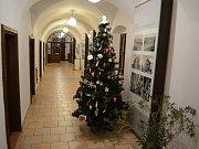 Vánoční ozdoby ze základních škol Mostecka vystavené v sídle mostecké krajské galerie,