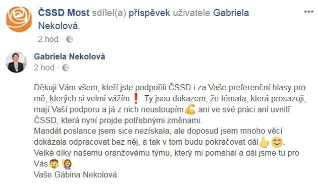 Reakce na volby od Gabriely Nekolové na facebookovém profilu ČSSD.