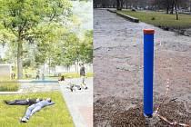 Návrh budoucí podoby parku Střed z dílny Till Rehwaldt/Patrik Hoffman a místo, kde vznikne studna.
