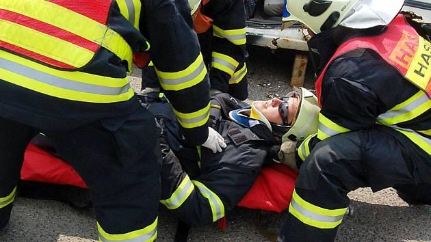 Profesionální hasiči z Mostu při ukázce záchrany člověka.