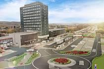 Vizualizace prostoru u vlakového nádraží v Mostě, kde chce město rozšířit přestupní uzel o další místa pro autobusy a osobní auta