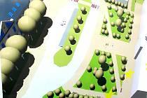 Obrnické náměstí po rekonstrukci, jak ho ukazuje vizualice na plakátu vedle stavby.