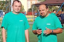 Trenér staršího dorostu FK SIAD Most Josef Tancoš (vpravo) se svým asistentem Otou Hertlem.