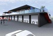 Studie rekonstrukce VIP nástavby na boxy na autodromu v Mostě