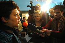 Džamila Stehlíková při rozhovoru s novináři v Janově.