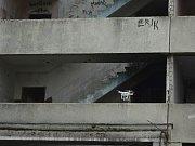Bourání prvního ze dvou poškozených paneláků v Chánově, čtvrtek 24. listopadu. Dron s kamerou.