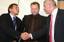 Tomáš Hüner (vlevo), Jan Dienstl (uprostřed) a Milan Šťovíček.