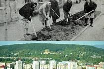Brigády a úpravy obcí a měst svépomocí byly na Mostecku běžné v éře socialismu (nahoře), dole kopec Ressl, kde si lidé udělají běžeckou trať..