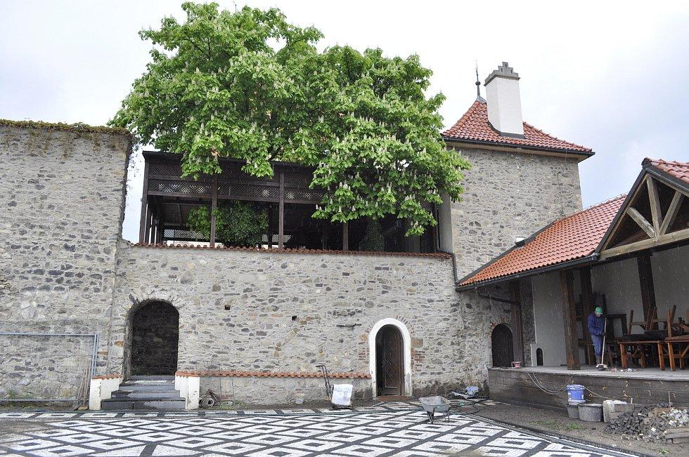 Nádvoří mosteckého hradu, kde se našly zbytky šlechtického paláce z éry kolem roku 1500. Zdokumentovaný prostor je už zasypán a vydlážděn.