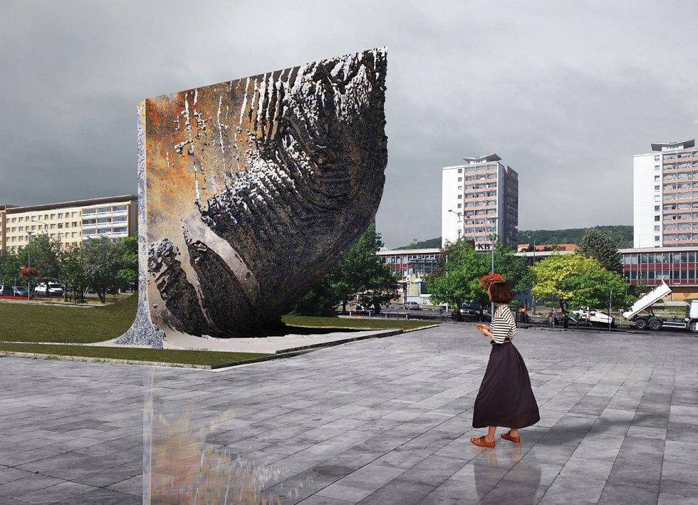 Vizualizace hornického památníku v Mostě.