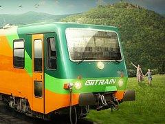 Reklamní obrázek na vozidla 628.2 pro linku R25 Plzeň - Most. V pozadí mostecký hrad Hněvín.