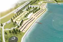 Vizualizace jižního břehu jezera Most ukazuje, jak po dalších úpravách může v příštích letech vypadat okolí hlavní pláže v rekreační oblasti.