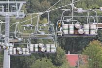 Test lanovky na Klínech.