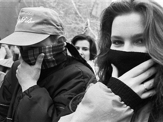 Ekologická demonstrace na Mostecku. Listopad 1989