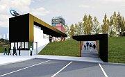 Studie nového vjezdu a vrátnice na autodromu v Mostě