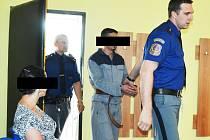 Obžalovaná Lenka sleduje příchod obžalovaného Josefa do soudní síně. Oběma hrozí až tři roky vězení za to, že ochromili poplašnými zprávami část Mostu s Krušnohorem.