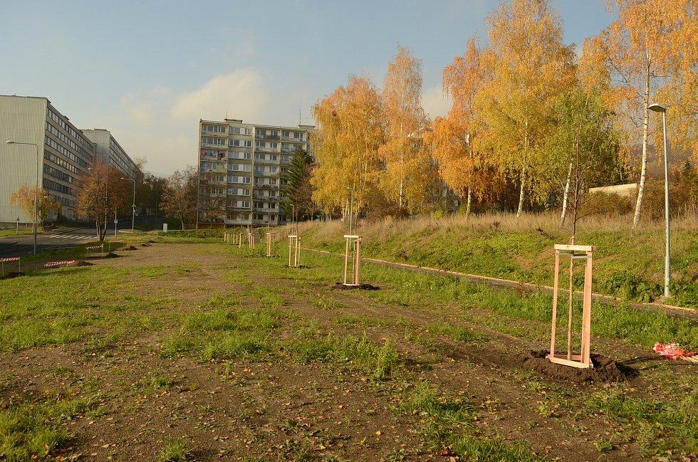 Sídliště Janov v pátek 13. listopadu. Tady stál ještě v létě prázdný panelák.