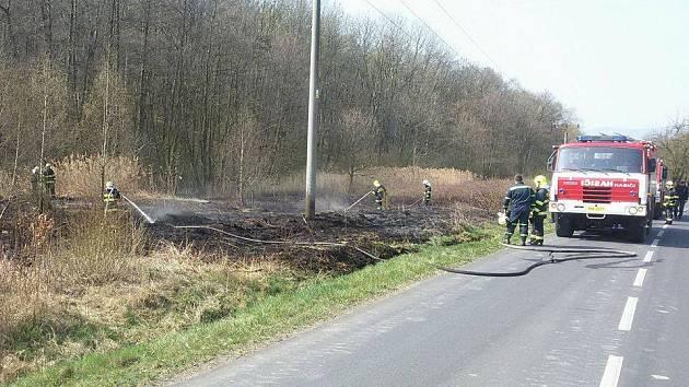 Hasičům se v neděli před polednem podařilo zabránit rozšíření požáru do nedalekého lesa.