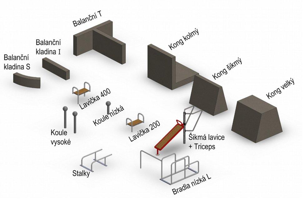 Nové prvky plánované do parčíku za Koldomem v Litvínově.