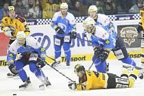 Litvínov (ve žlutém) doma skolil Plzeň 2:1.
