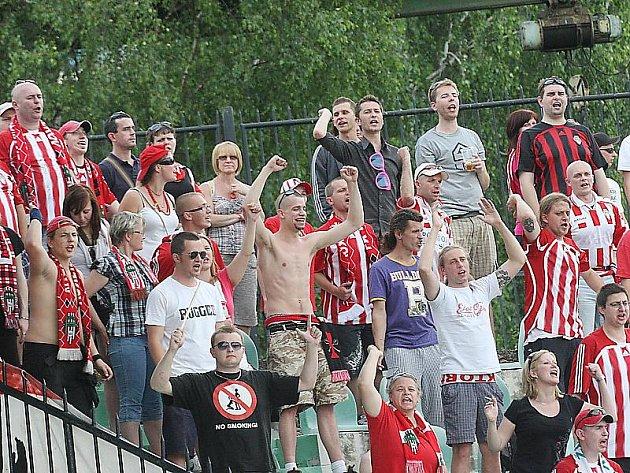 Fanoušci Žižkova v Mostě slavili postup do I. Gambrinus ligy.