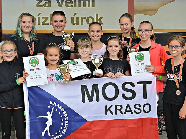 Mladí mostečtí krasobruslaři.